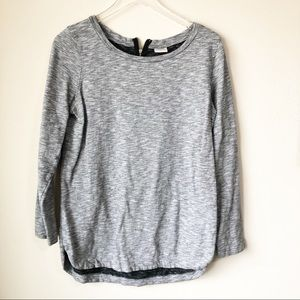 Merona | Gray long sleeve top with zip back